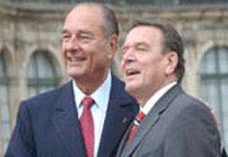 Gerhard Schröder en Jacques Chirac. Foto: Faz.net