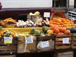 Kraampje met pompoenen op de markt in Madison Wisconsin