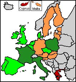 Overzichtskaart van waar in Europa een referendum zal worden gehouden over de Europese grondwet.