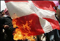 Afghaanse demonstranten verbranden een Deense vlag. Foto: BBC