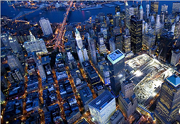 Luchtfoto van 'ground zero', nu bouwplaats. Foto: Vincent Laforet, The New York Times